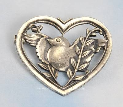 #Vintage 1940s Sterling Bird in Heart Frame Brooch Signed PEGASUS CORO #ValentinesDay