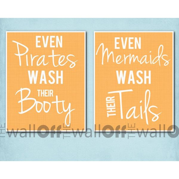 """Pirate Mermaid Bathroom Art Prints - Set of 2 8x10 - """"Even Pirates Wash Their Booty, Even Mermaids Wash Their Tail"""""""
