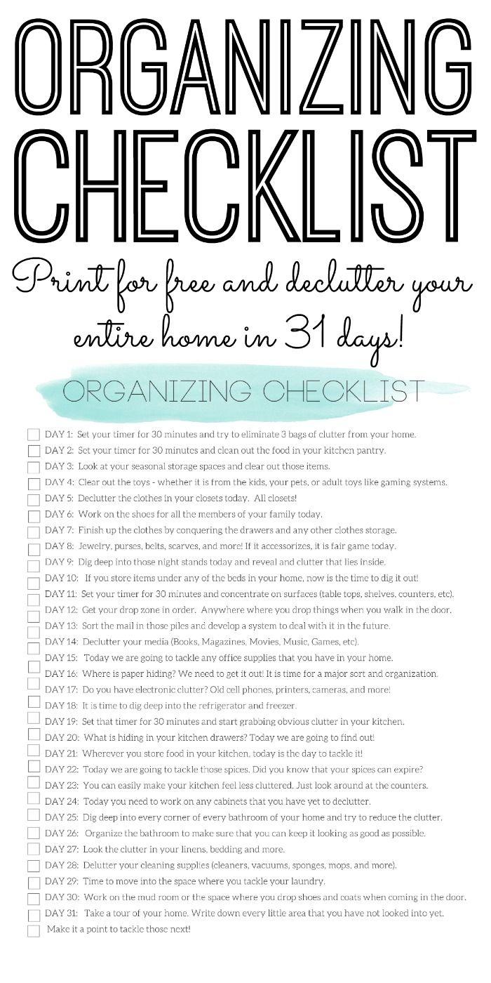 Organizing Checklist   Declutter Your Home in 20 Days   Declutter ...