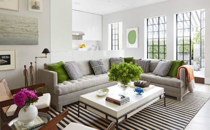 Living room by Nate Berkus. | Read the article 'How Do The Best Interior Designers Use Floor Lamps?' at http://modernfloorlamps.net/best-interior-designers-use-floor-lamps/
