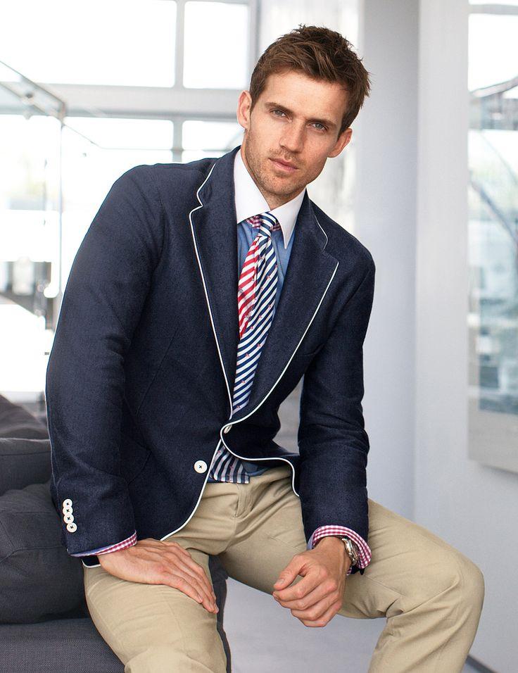 I like the dark jacket with the light pant