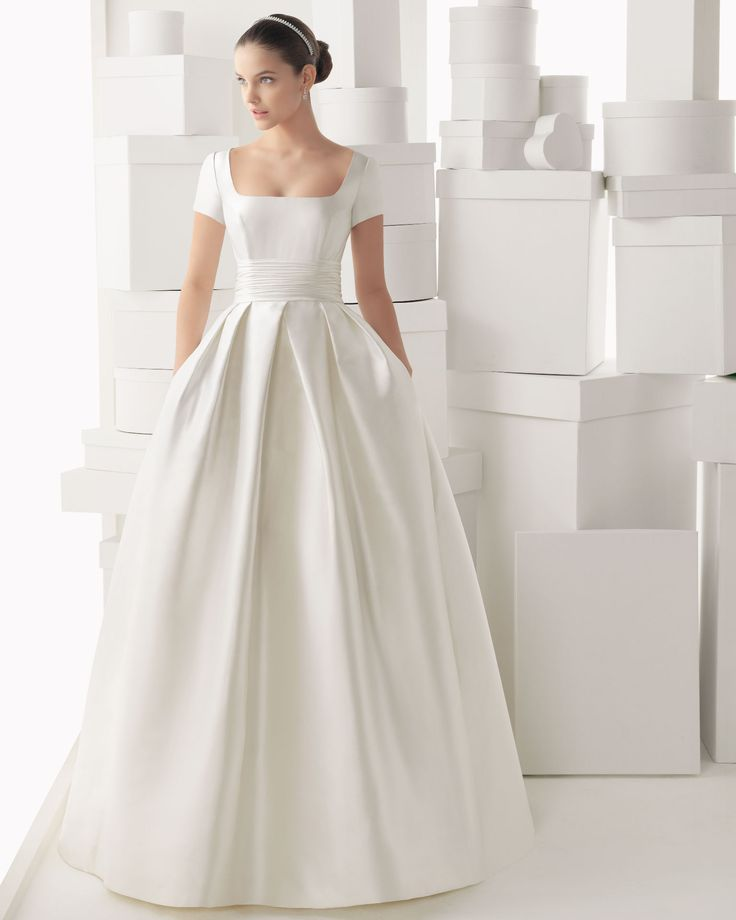 Popular Free Shiping Delicate Ball Gown with Short Sleeves zipper Satin Wedding Dress White Bridal Dresses Cheap Fast shipping