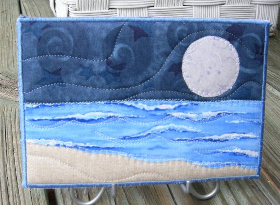 seascape quilts | Big Moon Seascape Fabric Postcard Art Quilt by SewUpscale on…