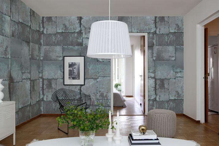 Koper platen die aan het oxideren zijn... als muur-vullend behang exclusief  bij www.schoonewoonwensen.nl