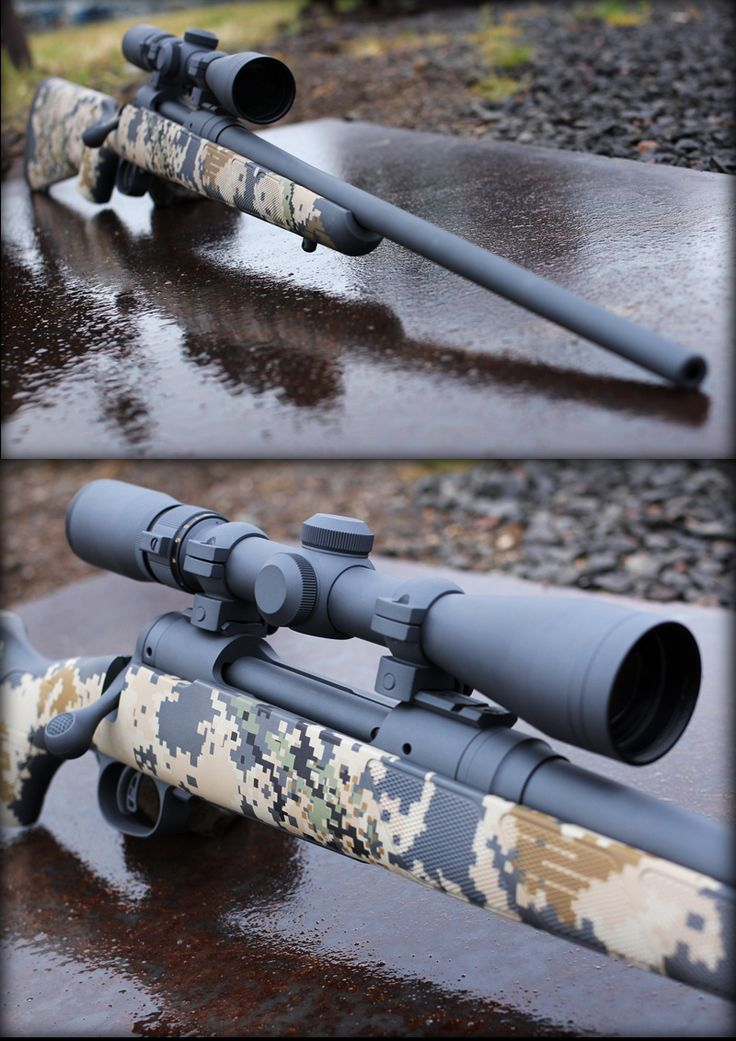 This Savage Arms bolt action rifle features an extreme digital camo pattern using Cerakote Firearm Coatings. The optics and barrel are single color, stone grey with the composite stock using a variety of Cerakote colors such as Noveske Bazooka Green, Desert Sand, and Graphite Black.