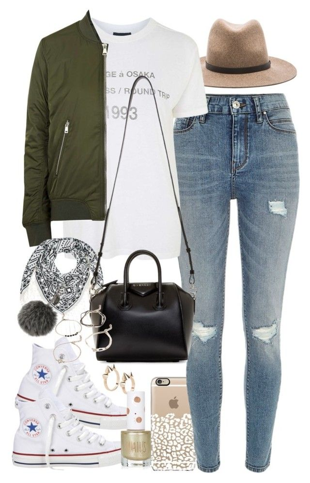 """""""Outfit for college"""" by ferned ❤ liked on Polyvore featuring River Island, rag & bone, Topshop, Accessorize, Converse, Givenchy, MANGO, Fendi and Forever 21"""