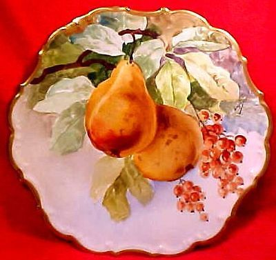 Antique+Victorian+Limoges+Artist+Signed+Still+Life+Fruit+Charger+Wall+Plaque