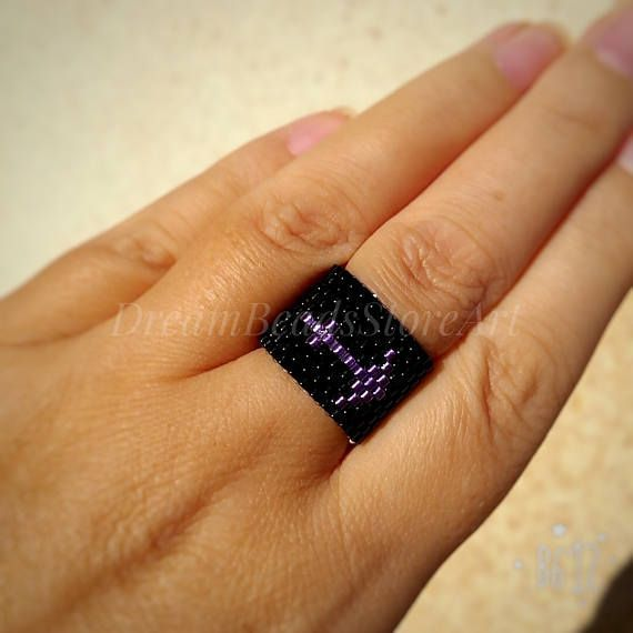 US15.00 #Zodiac sign ring #sagittarius  ring Astrological ring Seed bead ring His and hers ring Mens black ring Meditation ring #Gothic style ring Dainty beaded ring Custom #birthday  ring Beaded gift ring #astrology  gift Ring for mom #gift  #Zodiacsign #ring is nice lovely present as sign #christmas