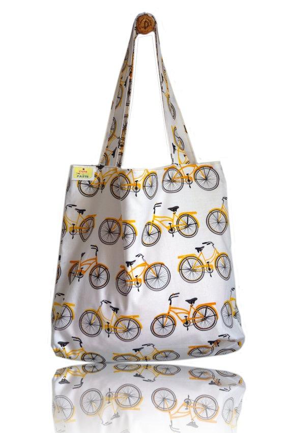 Yellow Bikes Lined Tote Bag - Handmade in London via Etsy