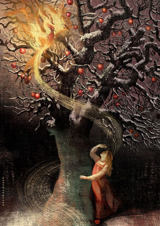 "Anna and Elena Balbusso's artwork for the short story ""Ekaterina and the Firebird""by Abra Staffin-Wiebe"