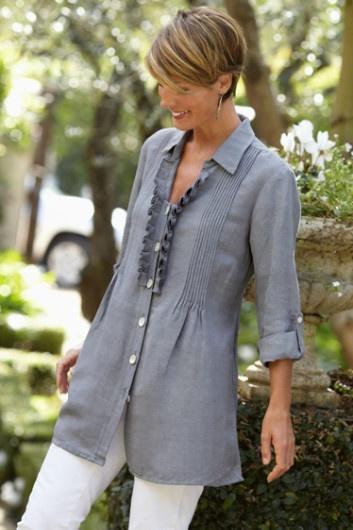 Nantucket Shirt - Box Pleat Ruffed Top, Pintucked Linen Shirt, Tops   Soft Surroundings