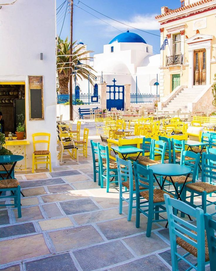 The beautiful main square of  Serifos island (Σέριφος)