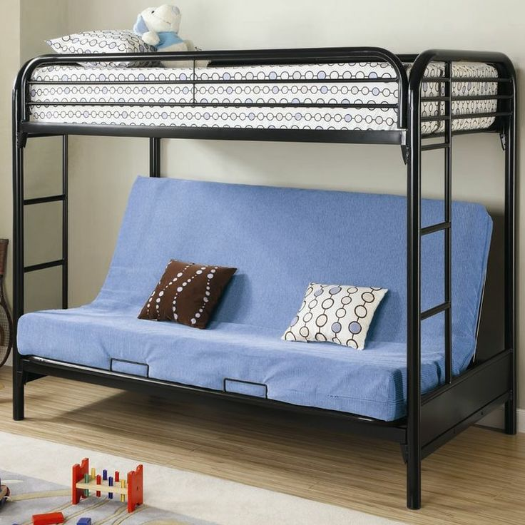 Elsie Twin Over Futon Bunk Bed With Built In Ladder
