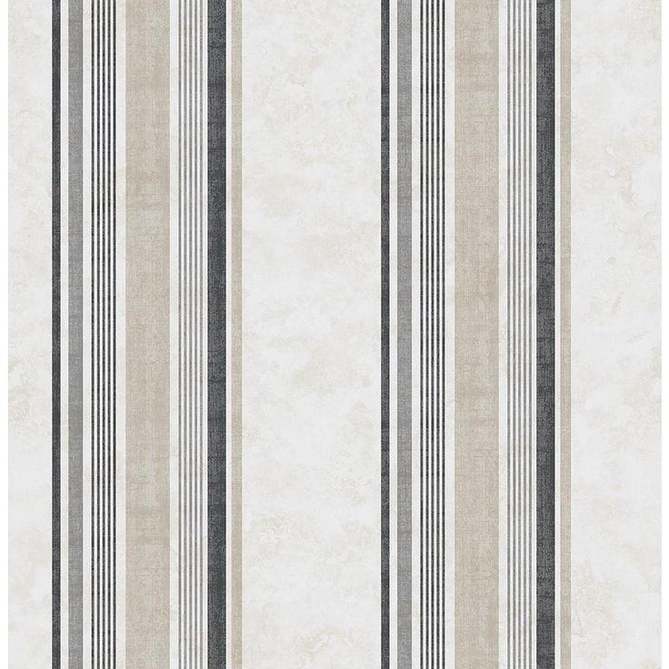 8 in. x 10 in. Hamilton Grey Stripe Wallpaper Sample
