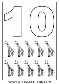 1-10 Number Coloring Sheets