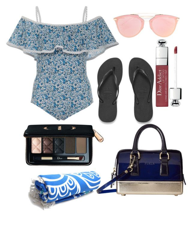 """""""blue beach"""" by annisyabubbles on Polyvore featuring Karla Colletto, Havaianas, Christian Dior and Furla"""