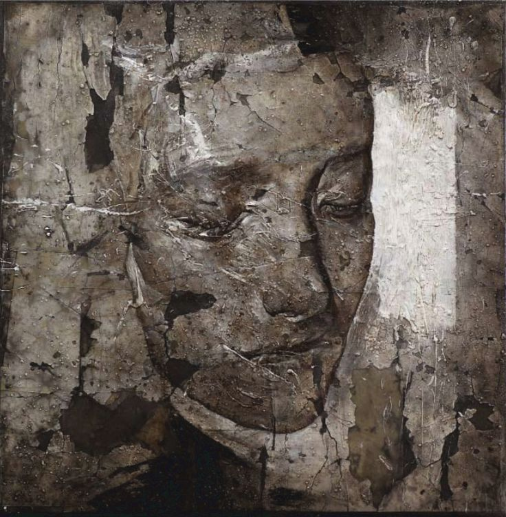 imprinting; 2009. Mixed media with beeswax and ash; 40x40 cm.