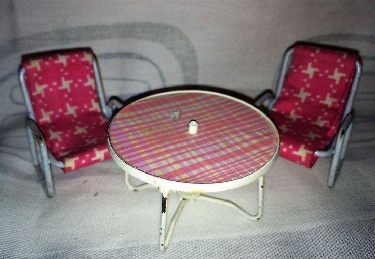Lundby dockskåp altanmöbler vilstol bord utemöbler terrassmöbler vintage