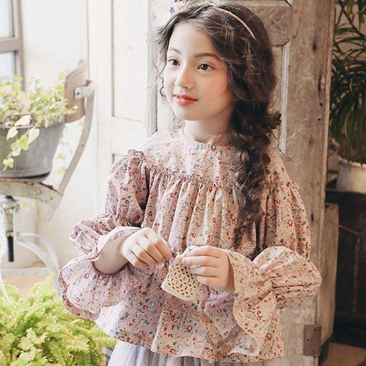 С цветочным принтом хлопок Длинные рукава блузки для девочек осень 2017 Топы для детей одежда маленькая Крупные девушки детские школьные рубашки одежда