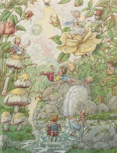 "HAROLD GAZE (1885-1962), ""Pride Goes Before a Fall"" kr: Fantasy, Gazing Pride Go, Books Illustrations, Fall, Children Illustrations, Fairy, Harold Gazing, Fairies Tales, Fairies Gnomes Elves Etc"