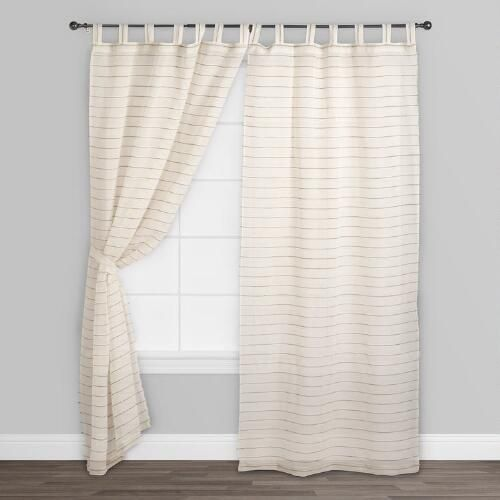 Ivory Striped Sahaj Jute Curtains, Set of 2   World Market