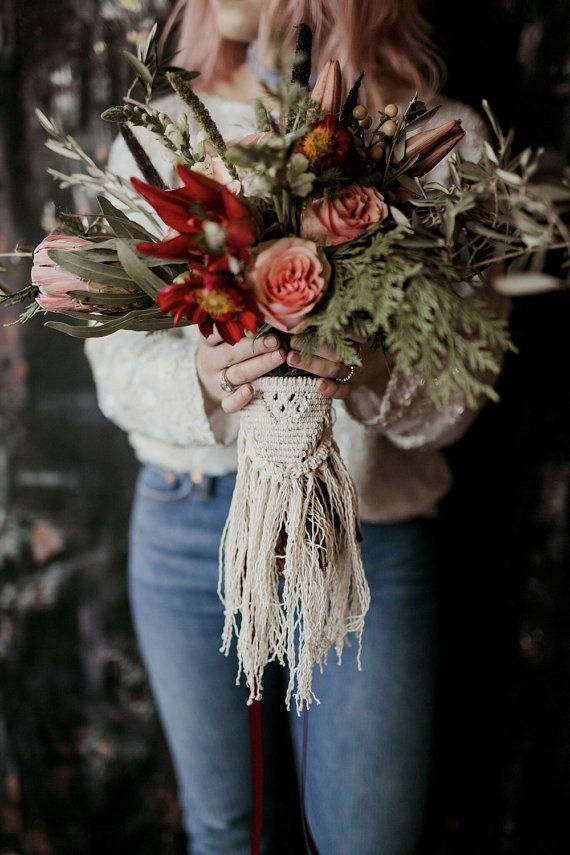 Macrame bouquet piece easily ties around the back side of the bouquet. Custom designs and shapes completely welcomed. Email with inquiries.