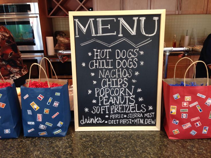 Menu For Baseball Theme Baby Shower