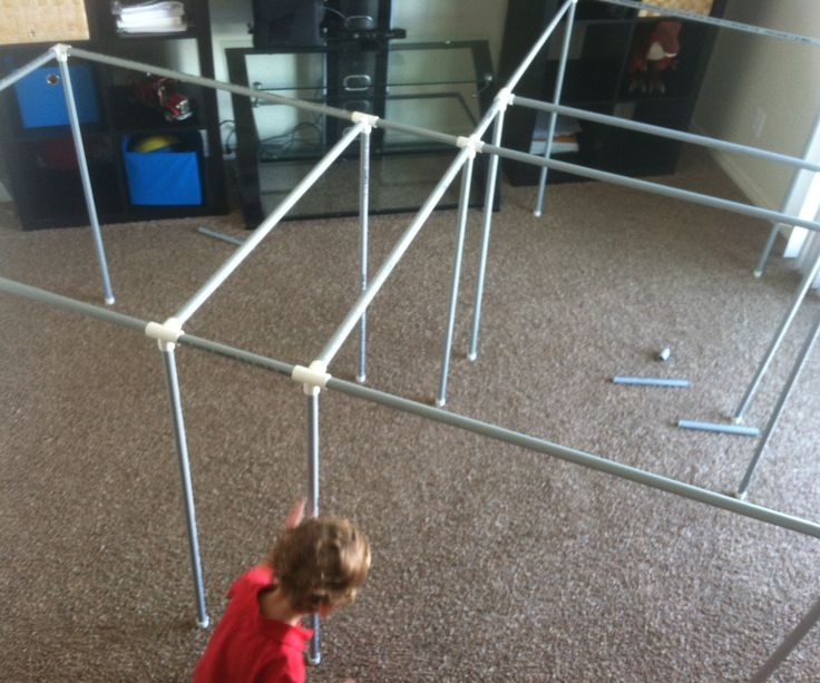 "Introduction: Forts are fun. My kids even like them! Forts are often time consuming to build and keep together, especially with a 2 year old Monster helping. This Super easy PVC fort can be built in under 10 minutes. It is so easy that I don't feel bad taking it down after the kids go to bed and put it back up in the next day. It comes completely apart making it easy to store when not in use. Supplies & Tools:          PVC Pipe 24 - 1/2"" Extra ..."