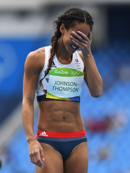 Katarina Johnson-Thompson of Great Britain reacts after a scuessful attempt…