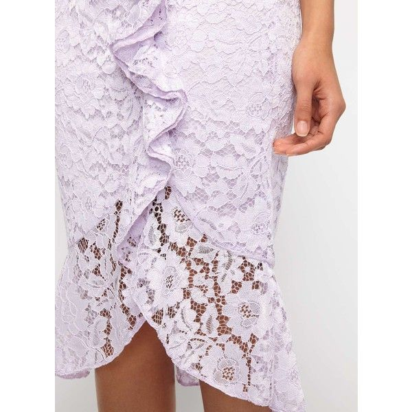 Miss Selfridge Lilac Lace Ruffle Pencil Skirt (£53) ❤ liked on Polyvore featuring skirts, purple, knee length lace skirt, frill skirt, lace pencil skirt, miss selfridge and lilac skirt