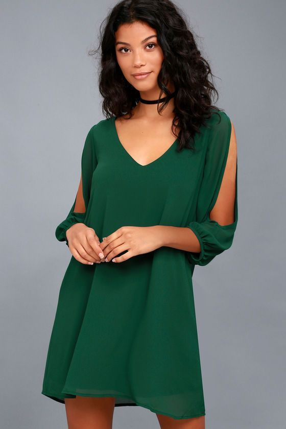 Lulus Exclusive! When it's time to shift your gears into glamor mode, the Shifting Dears Forest Green Long Sleeve Dress is our most dearly beloved dress! Dark green chiffon forms a roomy shift silhouette with a deep, scoop neckline and a flared shape that flows into an asymmetrical, concave hemline. Long, sheer sleeves have on-trend, cold shoulder cutouts that open all the way to the cuffs.