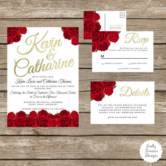 Custom 5x7 Red Roses U0026 Gold Wedding Invitation   Red Roses   Gold Font  Accent