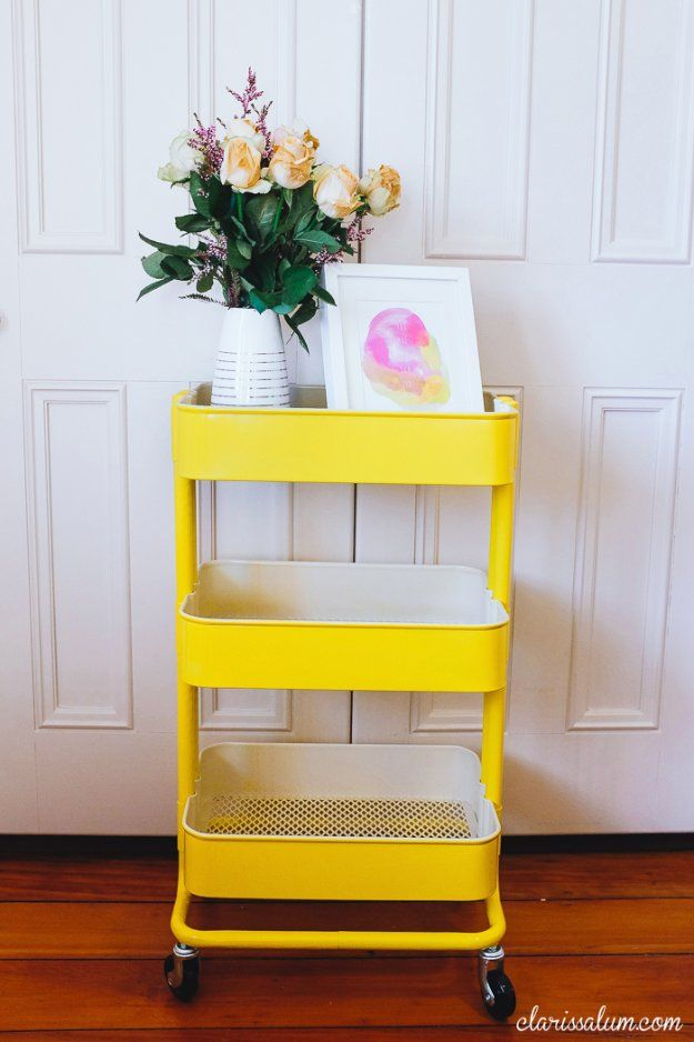 IKEA Hacks and DIY Hack Ideas for Furniture Projects  and Home Decor from IKEA -  Yellow Painted IKEA Raskog Hack - Creative IKEA Hack Tutorials for DIY Platform Bed, Desk, Vanity, Dresser, Coffee Table, Storage and Kitchen Decor http://diyjoy.com/diy-ikea-hacks