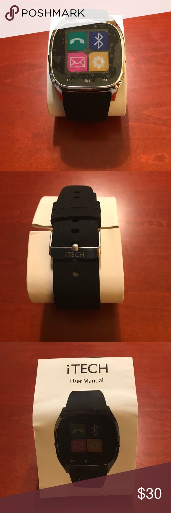 iTech SmartWatch 3260 SmartWatch , black, silver, rubber adjustable band and is compatible with iPhone/Android. The iTech apps include : Bluetooth, phone book, dialer, messaging, call logs, notifier, music, camera remote, phone, settings, anti lost, alarm, stopwatch pedometer, sedentary reminder, and calculator. iTech Jewelry