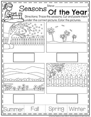 Preschool Season Worksheets for Summer