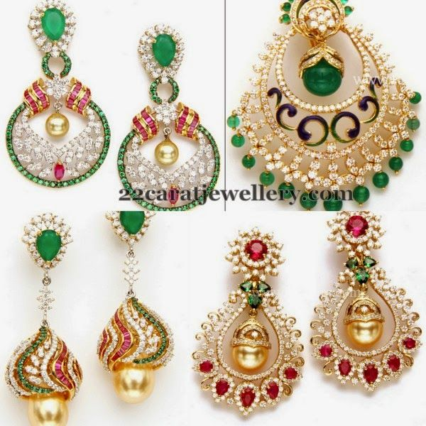 Jewellery Designs: Diamond Earrings from Totaram Jewellery
