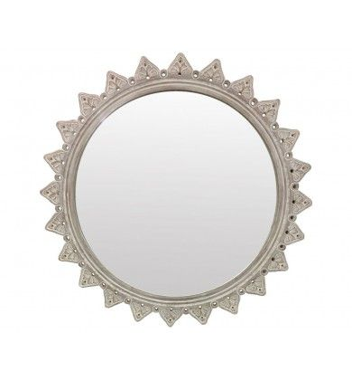 Round Wooden Mirror with Leaves on the Rim