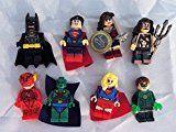 #10: Justice League Set of 8 Mini Figures Fit All Lego Playsets Batman Superman Wonder Woman Flash