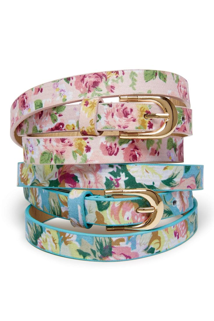 Floral Print Skinny Belt | Chadwicks of Boston