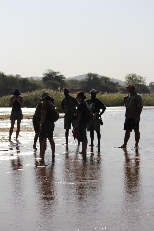 Taking time to cool off in the river bed, although trail distances only cover 5 - 7km per day.