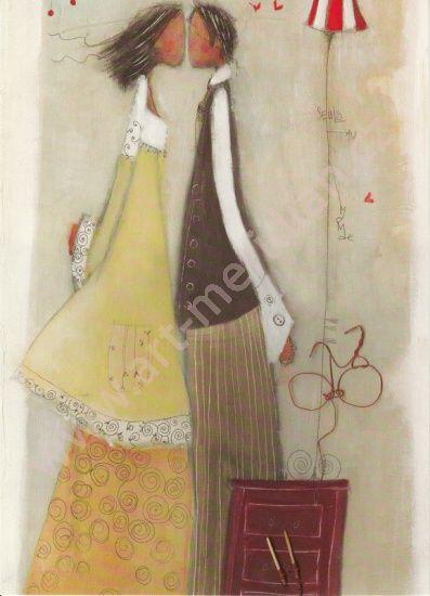 Obrázek 13x18, postavy pusinky, žluté, rám bílý s patinou