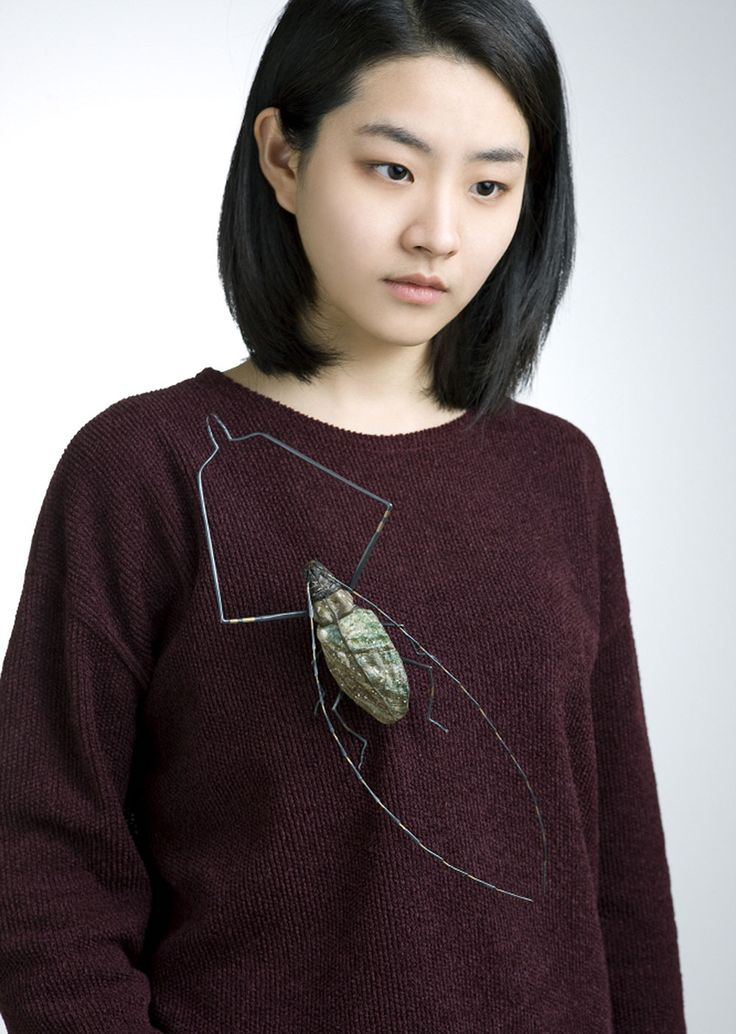Yojae Lee Brooch: Insects_ long - horned beetle, 2014 Frog's skin, shell, sterling silver, brass, polymer clay 13.2 x 27 x 3.2