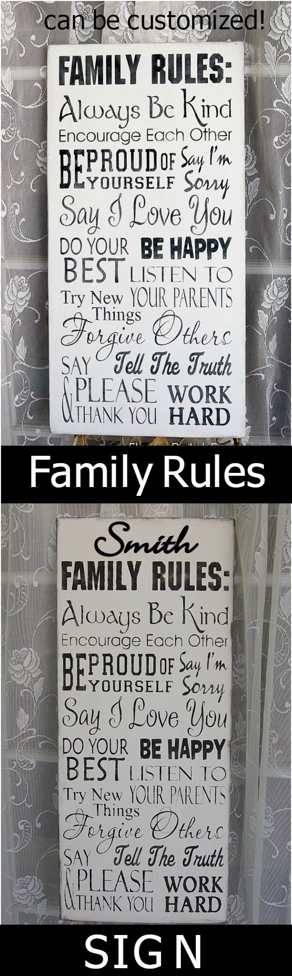 """Hand made Family Rules sign, 11.25"""" x 24"""" solid pine, can be customized with your family name. $44.75 + shipping."""