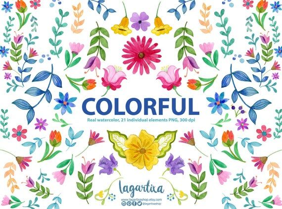 Colorful Watercolor Flowers Clipart Png Mexico Art Individual Etsy Clip Art Mexican Flowers Free Clip Art