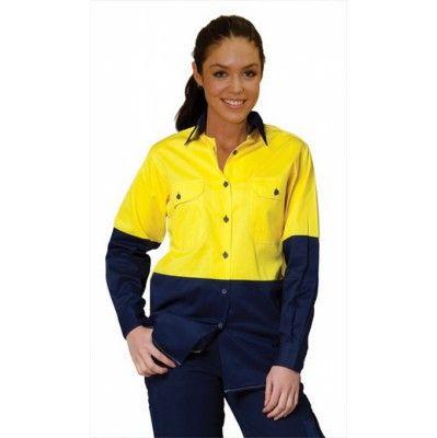 Ladies` Hi-Vis L/S Safety Shirt  Colours : Fluoro Orange/Navy   Fluoro Yellow/Navy Work Wear / Shirts (SW64_win)