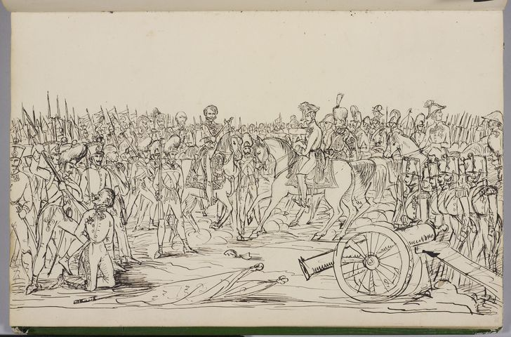 A military scene  circa 1833circa 1844 by Prince Albert, Prince Consort, consort of Victoria, Queen of the United Kingdom (1819-61)