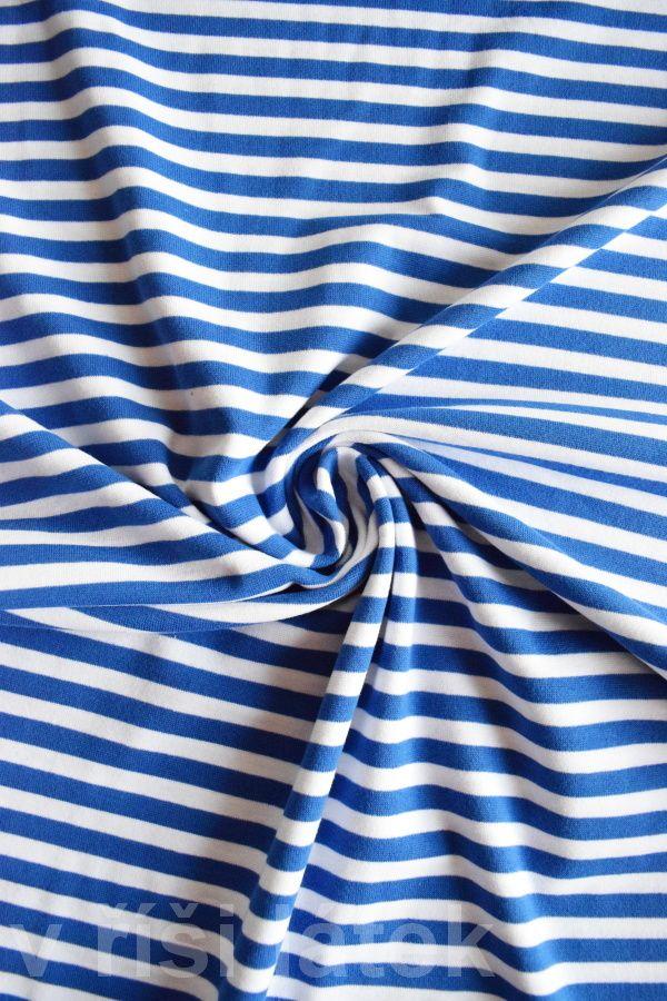 Finerib el. bavlna – námořnický proužek král. modrý - http://vrisilatek.cz/produkt/finerib-el-bavlna-namornicky-prouzek-kral-modry/
