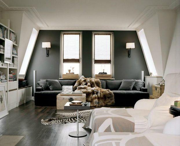 Living Room With dark Walls 6