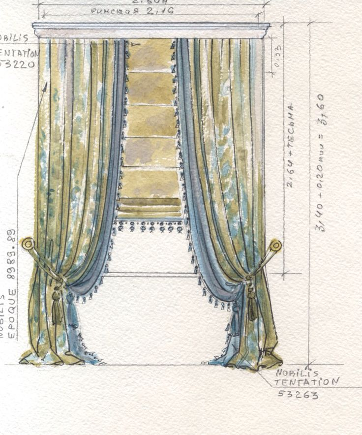 drapery panels, deluxe fullness with contrasting under layer, hold backs placed low. small puddle. roman shade with tassel trim.  Custom designs are free of charge using our featured fabrics DesignNashville.com