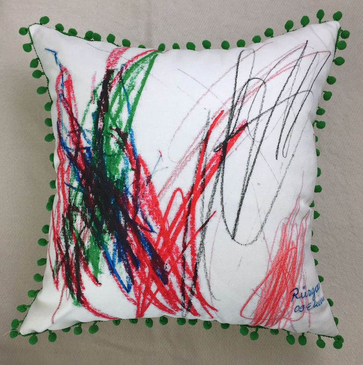 This painting is done by a 3 year old I have printed it on fabric and done a pillow. All handmade best gift for christmas.